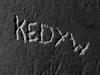 Napis w celi zbiorowej, tzw. tramwaju nr 2,  fot.  Dokumentacja konserwatorska PKZ, 1966