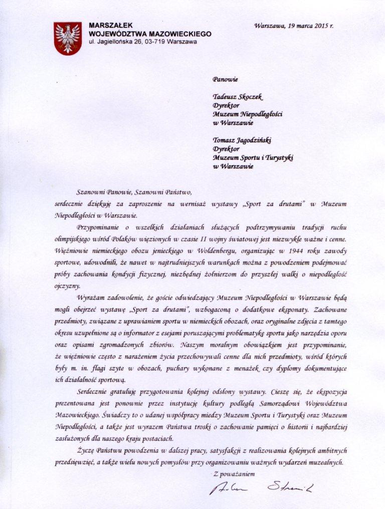 List Marszałka Adama Struzika